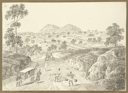 Distant view of the encampment at Gumia (Bihar); a road in foreground with elephants, palanquin and servants with baggage and dogs. 10 February 1823